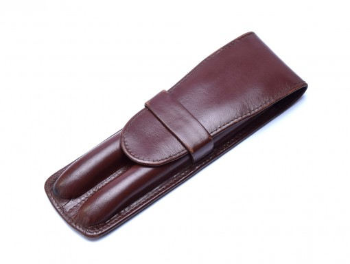 Vintage High Quality Genuine Brown Leather Tube Pouch Case for 2 Fountain / Ballpoint Pens