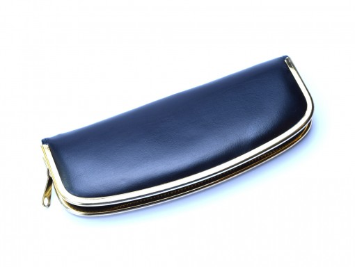 Vintage High Quality Genuine Leather Black & Red Steel Gold Plate Frame Pouch Case for 2 Fountain or Ballpoint Pens