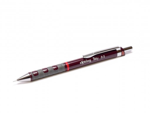 Rotring Tikky Mechanical Pencil w/ Rubberized Grip Dark Burgundy Color 0,5MM Leads