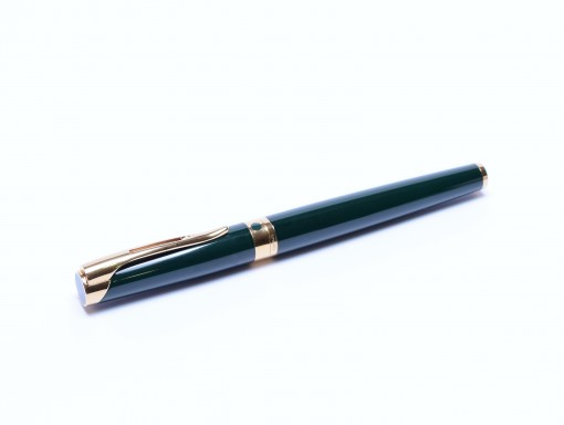 Stunning 1990s Waterman L`Etalon Lantern Dark Green Lacquer & Gold Rollerball Pen Made in Paris France