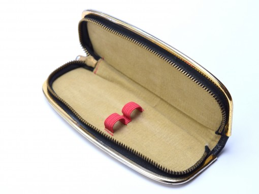 Vintage High Quality Genuine Leather Black & Beige Steel Gold Plate Frame Pouch Case for 2 Fountain or Ballpoint Pens