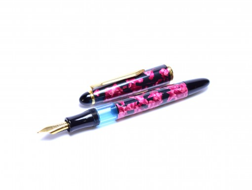 1980s SENATOR Classic Melbi Magenta Pink Marble F Fine Nib Piston Fountain Pen