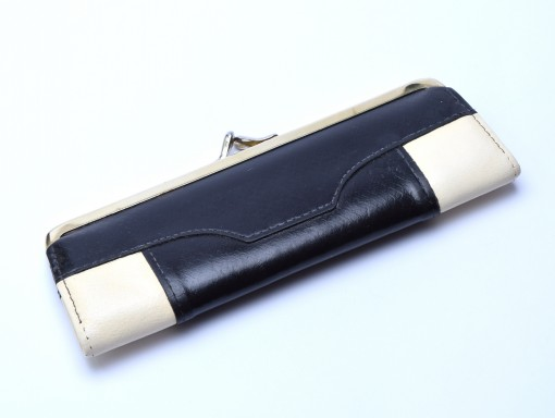 Vintage Lady High Quality Genuine Black & White Leather Wallet Pouch Case for 2 Fountain / Ballpoint Pens