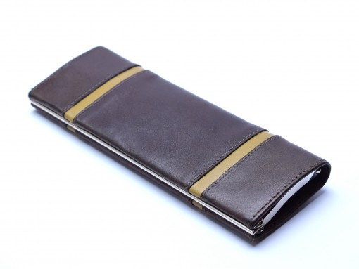 Vintage Lady High Quality Genuine Brown Leather Steel Frame Pouch Case for 2 Fountain / Ballpoint Pens