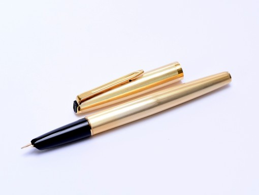 AURORA 98 Solid Sterling 925 Silver - Gold Plated - Vermeil 14K EF Gold Nib Cartridge Fountain Pen