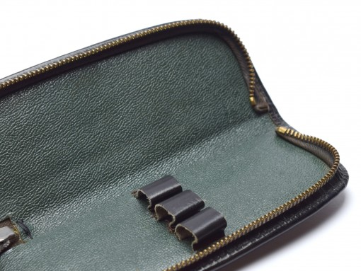 Vintage High Quality Genuine Leather Black & Green Pouch Case for 3 Fountain or Ballpoint Pens