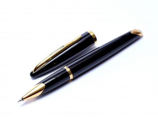 Waterman Carene/CARÈNE GT Black Lacquer & 23K Gold Plated Rollerball/Ballpoint Pen Made in France
