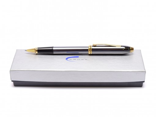 CROSS Townsend Titanium Gray Lacquer & 23K Gold Plate Rollerball Pen Made in USA in Box
