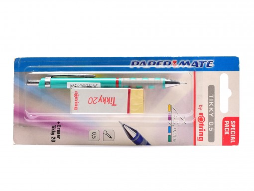 NOS New Rotring Tikky w/ Rubberized Grip Green Color 0,5MM Leads Mechanical Pencil + Eraser Included