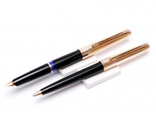 Pelikan M30 30 Rolled Gold Fountain Pen & Mechanical Pencil Set