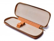 "VINTAGE HIGH QUALITY MEWA ""CAMEL"" LIGHT BROWN SOFT LEATHER ZIPPER POUCH CASE FOR TWO (2) FOUNTAIN PEN / BALLPOINT PEN"