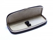 Vintage High Quality Hard Black Genuine Leather Pouch Case With Steel Chromed Frame for 2 Fountain Ballpoint Pens & Pencils