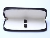 Vintage High Quality Genuine Leather Black & White Pouch Case for 2 Fountain or Ballpoint Pens