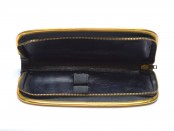 VENUS Vintage High Quality Genuine Thick Black Leather Steel Gold Frame Pouch Case for 2 Fountain/Ballpoint Pens & Pencils