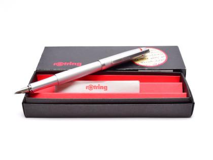 Beautiful New NOS 2000s Rotring Freeway Silver Aluminium Matt Satin Finish F Fine Fountain Pen In Box