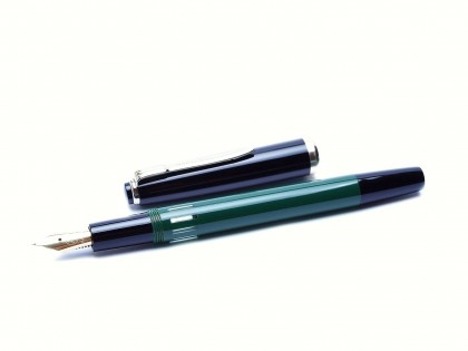 Rare 1960s Reform 4383 Round Green & Black 14K Gold Fully Flexible F to 3B Nib Piston Fountain Pen