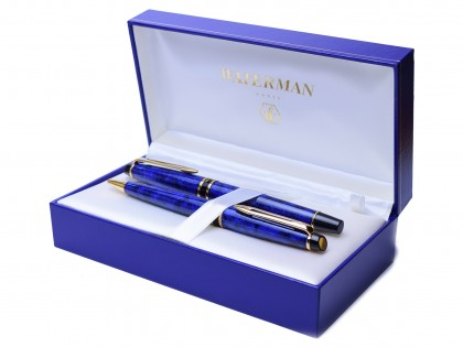 Rare 1998 Waterman EXPERT II Lapis Lazuli Blue Marble & Gold Fountain & Ballpoint Pen Set