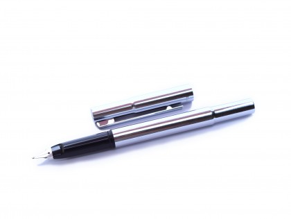 Rare 1960s Aurora Auretta Italy Brushed Stainless Steel Fountain Pen with Special Flat Nib (Left Handed)