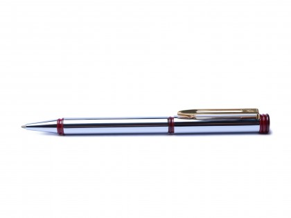 1993 Vintage Oversize Waterman Forum Stainless Steel Chromed & Red Ballpoint Pen