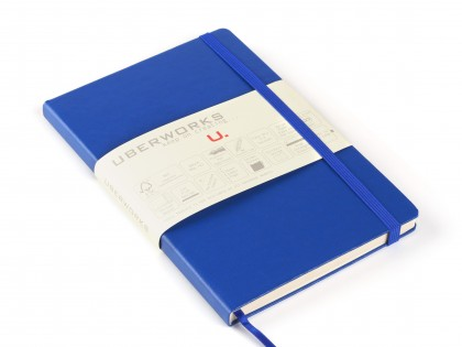 UberWorks Tehnik Premium Notebook Journal Classic Royal Blue Hardcover Elastic Closure Plain Lined or Dotted Paper in Slip/Sleeve Case