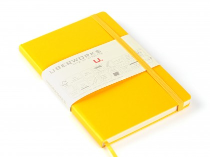 UberWorks Tehnik Premium Notebook Journal Classic Yellow Hardcover Elastic Closure Plain Lined or Dotted Paper in Slip/Sleeve Case