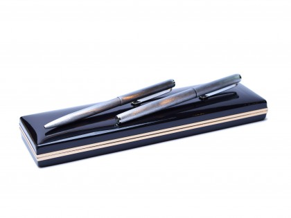 1980' HQ Rexpen Diplomat Premier Brushed Aluminum Fountain & Ballpoint Pen Set In Black Lacquer Case Box
