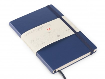 UberWorks Tehnik Premium Notebook Journal Classic Dark Blue Hardcover Elastic Closure Plain Lined or Dotted Paper in Slip/Sleeve Case