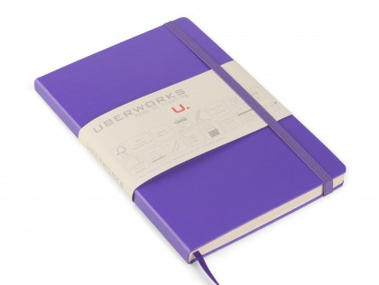UberWorks Tehnik Premium Notebook Journal Classic Purple Hardcover Elastic Closure Plain Lined or Dotted Paper in Slip/Sleeve Case
