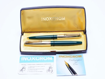 Rare 1980s Spanish INOXCROM 88 Dark Olive Green & Gold 14K F Nib Fountain Pen & Ballpoint Pen Set NOS In Box