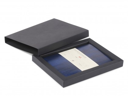 Premium Executive UberWorks Texas Notebook Royal & Navy Blue Leather Style Cover 224 Plain Lined or Dotted Pages in Box