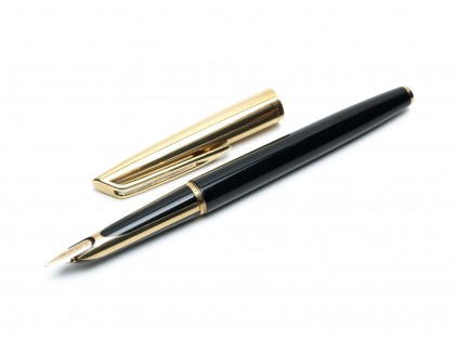 1957 Waterman C/F (CF) Gold Filled & Black Resin - First Cartridge 18K Gold F Semi-Flexible Nib Fountain Pen