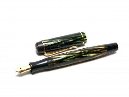 1930s Montblanc No.326 Spain/Spanish Wiese Tiger Eye Striped Green Striped Push Button 334 1/2 EF Gold Nib Art Deco Fountain Pen
