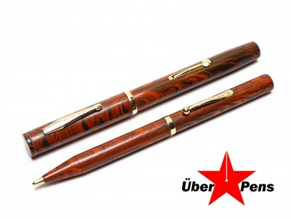 Custom 1926 WATERMAN'S Ideal 7 Red Ripple Ultra Flexible CANADA Fountain Pen & Pencil Set