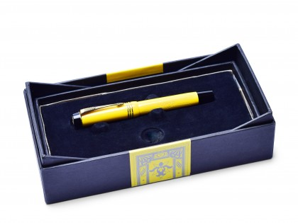1995 Limited Edition 5003/10000 PARKER Duofold Mandarin Yellow Centennial 18K 750 Gold M Nib Fountain Pen In Box