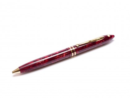 Vintage 1990s Sheaffer Balance II (2) Acrylic Marble Crimson Glow Ruby Bordeaux Red 22K Gold Plated Trim Twist Ballpoint Pen