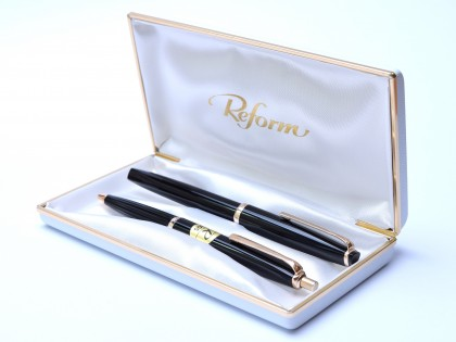 Superb 1960's Reform 4383 Triangular Black Resin Flexible 14K 585 Gold Nib Fountain & Ballpoint Pen Set In Box