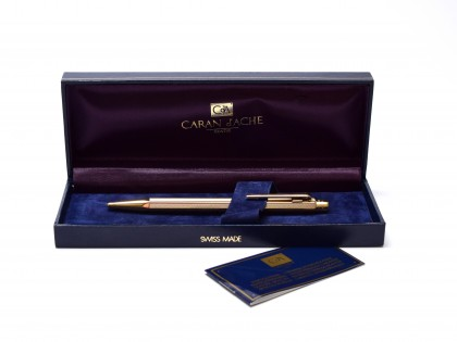 1990s Caran d'Ache ECRIDOR Hexagonal BARLEYCORN Pattern 23K Gold Plated Ballpoint Pen in Box