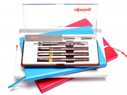 NOS Vintage Rotring Isograph Junior Set 3 Technical Pens 0.20mm, 0.30mm, 0.50mm + Tikky 0,5 Mechanical Pencil & Cartridges in Box