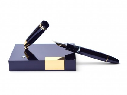 Breathtaking 1980s MONTBLANC 149 on Desk Base Stand Masterpiece Meisterstuck Flexible F to 3B Nib Fountain Pen