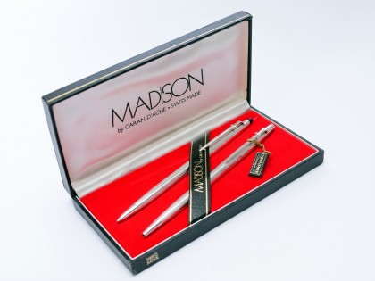 1970s Caran d'Ache MADISON Swiss Made Alpaca German Silver Ballpoint Pen & Mechanical Pencil Set In Box