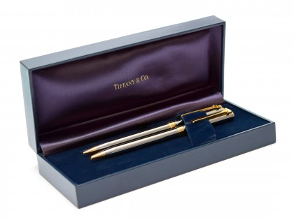 NOS in Box Made in USA Tiffany & Co. T-Clip Chrome and Gold Twist Ballpoint & 0.5mm Repeater Mechanical Pencil Pen Set