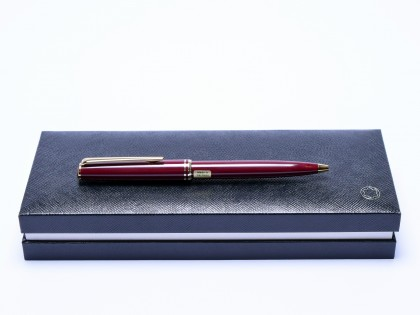 "2000s NOS MONTBLANC Classic ""Generation"" Maroon Burgundy Bordeaux Red & Gold Ballpoint Pen in Box"