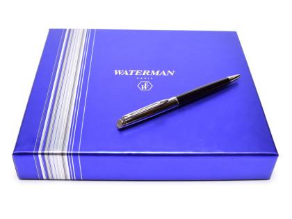NEW Waterman Hemisphere Black Lacquer & Chrome Twist Mechanism Ballpoint Pen + Notebook Set in Box