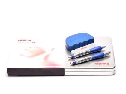 Vintage 2000s Rotring Skynn Matt Silver & Deep Blue Rubberized Padded Grip XS Fountain & G2 Refill Ballpoint Pen Set w/ Stress Dumb In Box