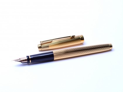 Superb 1992 18K Gold Plated PARKER 75 GODRON Made in France Fountain Pen