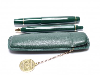 Rare 1972 Munich Olympics 12 Sided Olive Green KAWECO Sport V16 & 619 Flex EF Fountain & Ballpoint Pen Set in Leather Pouch