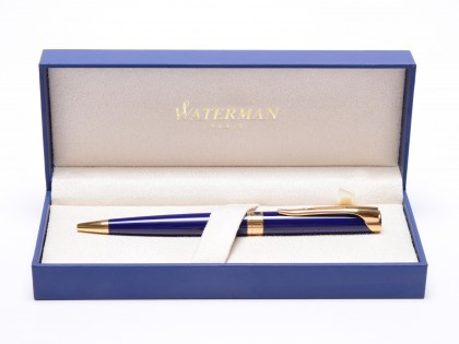 Stunning 1990s Waterman L`Etalon Violet Blue Lacquer & Gold Ballpoint-Rollerball Paris France In Box