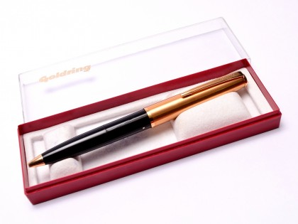 Vintage Goldring Black & Gold Plate Chrome Address Stamp Ballpoint Pen in Box