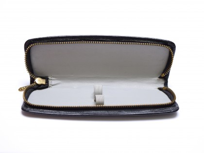 Vintage High Quality Black & Grey Genuine Leather Pouch Case for 2 Fountain Ballpoint Pens & Pencils
