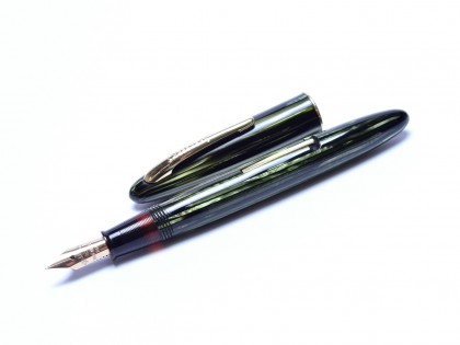 1930s Gorgeous W.A. Sheaffer Balance 350 Tortoise Green & Amber Section 14K Gold Fine Nib Lever Filling Fountain Pen USA
